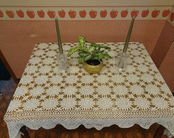 Superb Vintage Tablecloth, Vintage Lace, Beige Lace, Crocheted Tablecloth, Vintage  Tablecloth, Lace