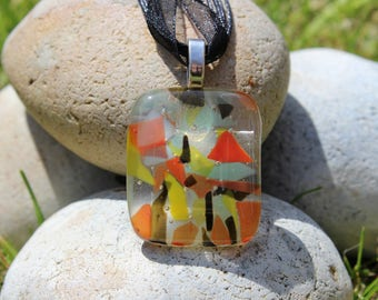 multi coloured, fused glass pendant, fused glass necklace, handmade jewellery