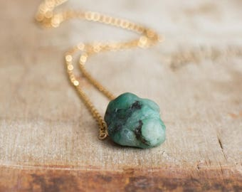 Raw Emerald Necklace, Crystal Necklace, Gift for Her, Mothers Day, May Birthstone Necklace, Chakra, Raw Stone Necklace, Emerald Jewelry