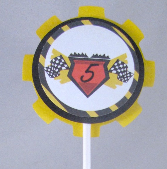 1 Dozen Nascar- Race Themed Cupcake Toppers in 3D