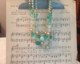 Vintage Green Glass Bead Four Strand Necklace