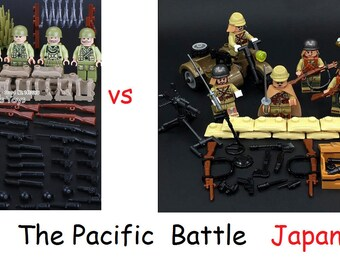 Usa versus Japan The Pacific Battles WWII custom made Marines some models built of LEGO® BRICKS D-Day War