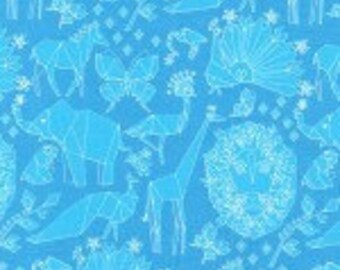 Michael Miller Origami Oasis Fold Blue fabric - 1 yard