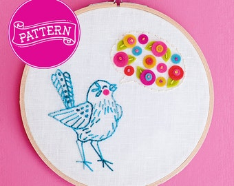 Embroidery Pattern, PDF Instant Download, 6 inch Hoop, Hoop Art, Bird Embroidery, PDF Pattern, Wall Decor, Teen Decor, Textile Art