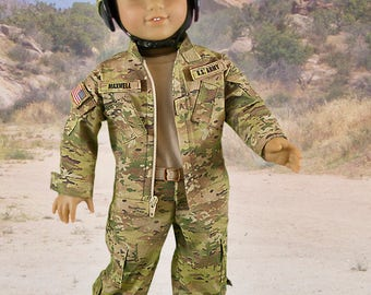 L&P #1010: Army Combat Uniform Pattern Bundle for 18 inch dolls — includes a replica uniform jacket, cargo pants, t-shirt and helmet cover