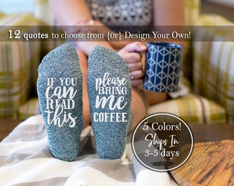 Personalized Mother Daughter Gift Wine Coffee Gift If You Can Read This Socks Please Bring Me Coffee Socks Coffee Lover Gifts Novelty Socks