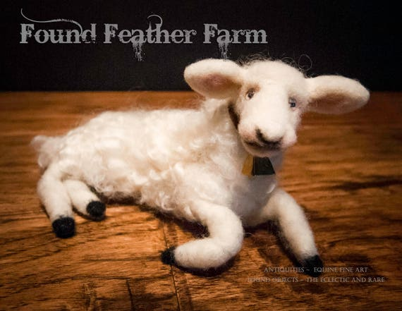 Precious Handmade Needle Felted Lamb with Bell