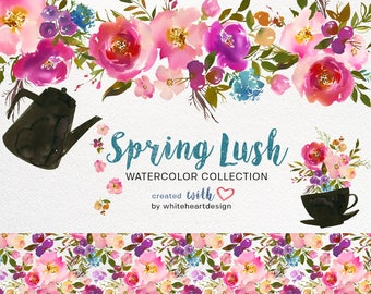 Spring Lush Watercolor Floral Clipart Collection PNG Pink Purple Turquoise Flowers Green Leaves Bouquets Elements Backdrop  Patterns Wedding