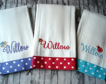 Baby Burp Cloths, Personalized, Set of Three, Girl Burp Cloths, Embroidered Burp Cloths