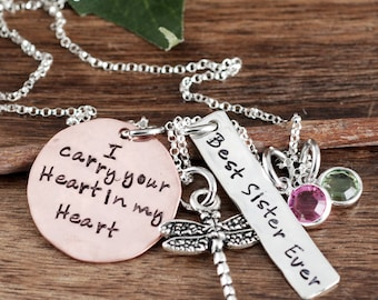 I Carry your Heart in my Heart, Memorial Necklace, Hand Stamped Necklace, Dragonfly Jewelry, Best Sister Ever, Gift for Sister, Gift for Her