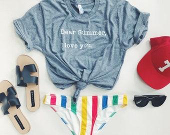 Adult DEAR SUMMER - Tri-blend T-Shirt- UNISEX