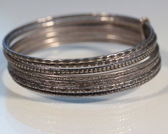 Vintage 70s Bangles Stack Silver Plate Bangles Seven Band Bracelet French Jewelry