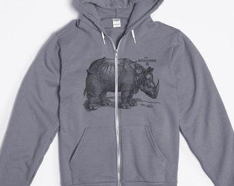 Zip Up Hoodie - Animal Hoodie - Rhino - Hoodie Men Unisex - Rhinoceros - American Apparel