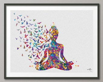 Yoga Art, Yogi, Yoga Poster, Yoga Pose, Yoga Print, Yoga Woman Watercolor, Yoga Studio, Sukhasana Pose, Yoga Wall Decor, Yoga Gift, Yoga-899