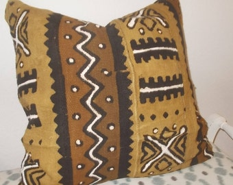 African Mud cloth Multi color Brown White Black Mustard Tribal pattern pillow cover