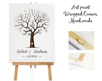 Large Art print wrapped canvas + 3 ink pads - Wedding Tree Guest Book - Fingerprint -  Thumb Tree  -  130 - 200 guests - Tree print - Canvas
