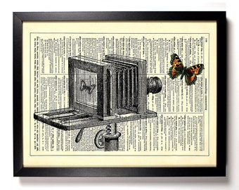 Capturing A Butterfly In Motion, Home, Nursery, Bath, Office Decor, Wedding Gift, Eco Friendly Book Art, Vintage Dictionary Print 8 x 10 in.