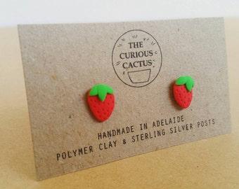 Strawberry Earrings - Handmade Fruity Polymer Clay Sterling Silver Earrings