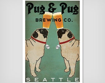 CUSTOM Pug & Pug Brewing Co. Beer  ILLUSTRATION Giclee Print signed