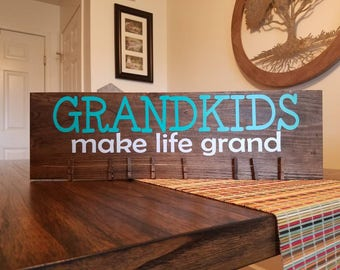 Grandkids Photo Holder Wood Sign For Grandparents