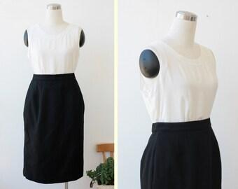 Black Pencil Skirt M L, Wool Black Skirt by Amanda smith, Knee Length Skirt 28'' waist