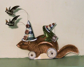INSTANT Download Halloween Decoration Centerpiece - Digital Party Chipmunk And Frog Paper Doll Digital Download HP13H