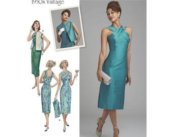 Misses' Retro 1950's Dress Pattern - Simplicity 8448 Sewing Pattern, Cross Front Neckline  Sizes: 6 - 8 - 10 - 12 -14 or 16 -18 -20 -22 -24