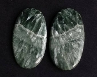 Seraphinite Oval Smooth Cabochon, Natural Seraphinite Designer Cabochon Pair, 32x17 MM, 41 Cts, Loose Gemstone Pair.