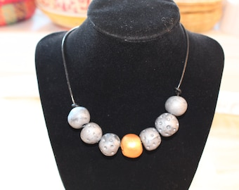 Silver gold necklace, Eco Friendly handmade clay beads