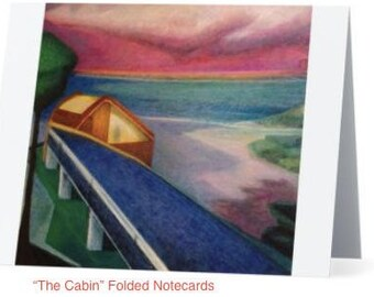 """Art Notecards (Set of 10) - """"The Cabin"""" Folded Notecards printed from original oil paintings, Blank inside"""