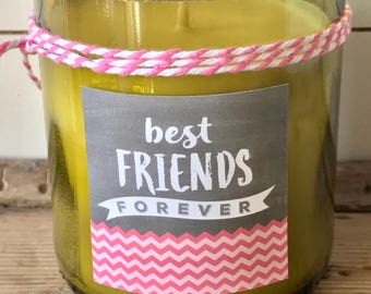 BEST FRIENDS WINE Candle - best friends pink