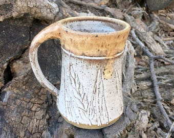 Pottery Mug Speckled Wheat Design Handmade by Daisy Friesen