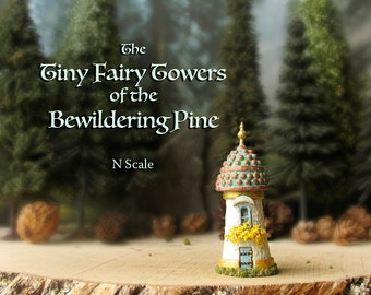 The Woodland Fairy Tower of The Bewildering Pine - Miniature Enchanted Stone Tower w/ Window Box, Patina Domed Roof, Wooden Door and Finial