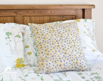 Cherry Blossom Decorative Throw Cushion, Yellow Floral Cushion Cover, Throw Cushion, Pillow, Decorative Cushion, Floral Cushion Cover