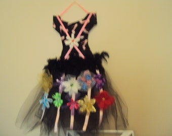 154 Black and Pink Tutu Hair Bow Holder