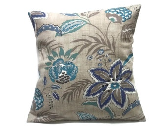 Decorative Pillow Cover Floral Design Turquoise Blue Brown Teal White Toss Throw Accent 18x18 inch  x