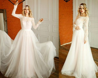 Romantic wedding dress, with a removable skirt. And a removable bolero. 3 in 1