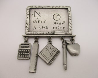 Jonette Jewelry JJ Silver Tone Math Teacher Chalkboard Brooch