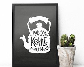 Kitchen Tea Kettle Print, Tea Kettle Poster, Tea Party Printable, Tea Kettle Chalkboard, Tea Chalkboard Sign, Kitchen Tea Kettle Wall Art