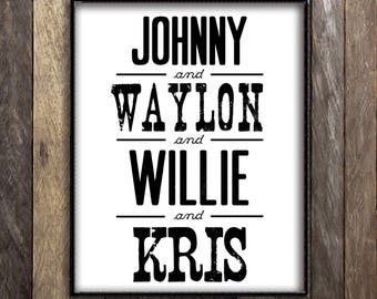 The Highwaymen, Johnny Cash Waylon Jennings Willie Nelson Kris Kristofferson Print, Country Music Legends Home Decor, Vintage Band Poster