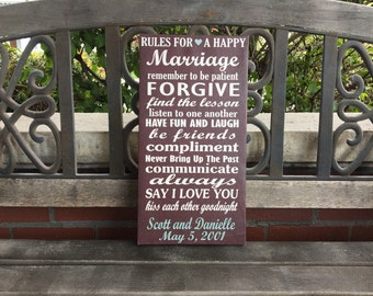 Rules for a Happy Marriage, Personalized Canvas Anniversary, Wedding or Anniversary Gift, Custom Marriage Canvas, Wedding Date