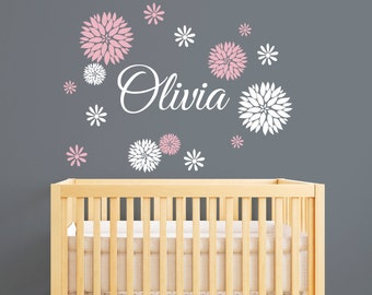 Personalized Name Wall Decal With Dahlia Flowers - Girls Name Wall Decal - Flowers Decal - Baby Girl Nursery Wall Decal - Teen Room Decal  sc 1 st  Etsy & High Quality Wall Decals Nursery Wall Decals by PinkiePeguinShop