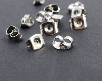 Stainless Steel Earnuts, Silver Earring Backings - 50 pieces
