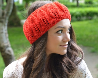 Poppy Red Hand Knitted Headband, Read Leaves Knit Beret, Teen Ear Warmer,  Women