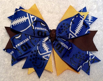 """Blue and Gold Stacked Pinwheel Hair Bow - 4.25"""" Boutique Bow on Lined Clip - Football Princess, Glitter, Michigan Wolverines Inspired!"""