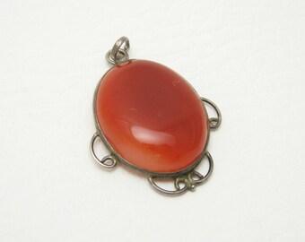 Large Carnelian Sterling Pendant Vintage Artisan Jewelry
