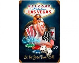 "Metal Sign ""Welcome To Fabulous Las Vegas Nevada "" 12""x18"" Man Cave"