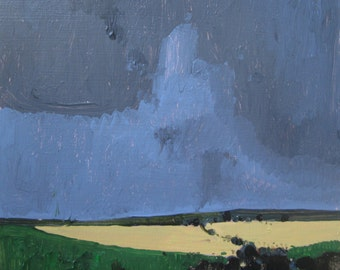 Powwow Day, Original Late Summer Landscape Painting on Panel, Ready to Hang, Stooshinoff