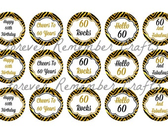 INSTANT DOWNLOAD Personalized 60th Birthday Party Bottle Cap Image Sheets *Digital Image* 4x6 Sheet With 15 Images