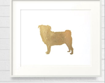 Gilded Pug 8x10 Mod Dog Art Print - Metallic Gold Leaf Silhouette on White Background